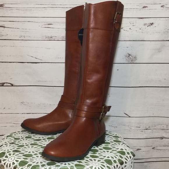 INC International Concepts Shoes - NEW INC Cognac Brown Leather Knee Boots